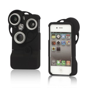 3-in-1 Fish Eye + Wide Angle + Macro Lens Hard Case iPhone 4S 4