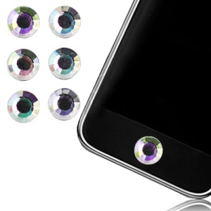 6 pcs Sparkling Diamond Home Button Sticker for iPhone 5 4S 4 3GS 3G For iPad iTouch - Transparent