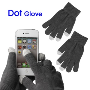 Unisex Capacitive Touch Screen Knit Gloves for iPhone 4S iPad 2 Samsung etc - Grey