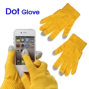 Unisex Capacitive Touch Screen Knit Gloves for iPhone 4S iPad 2 Samsung etc - Yellow