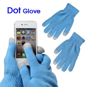 Unisex Capacitive Touch Screen Knit Gloves for iPhone 4S iPad 2 Samsung etc - Blue