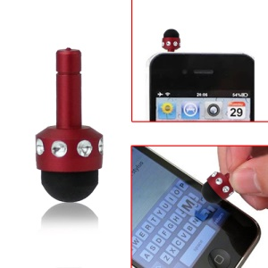 Smallest 3.5mm Plug Shiny Soft Touch Stylus Pen for Capacitive Touchscreen - Red