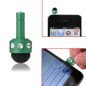 Smallest 3.5mm Plug Shiny Soft Touch Stylus Pen for Capacitive Touchscreen - Green