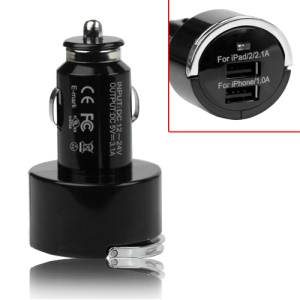 3.1A Dual USB Car Auto Power Adapter for iPad iPhone iPod Mobile Phone MP4 - Black