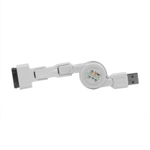 Retractable USB to 30 Pin/Mini USB/Micro USB Charging Cable - White
