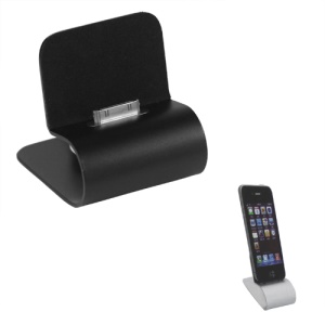 iPhone 4S 4 Aluminum Dock Cradle Stand Charger with USB Retractable Cable - Black