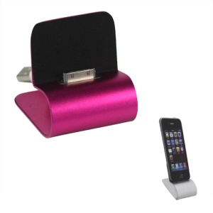 iPhone 4S 4 Aluminum Desktop Charger Dock Cradle with USB Retractable Cable - Rose
