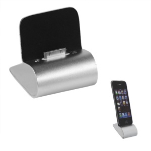 Aluminum iPhone Charger Cradle Dock Station with Retractable USB Cable - Silver