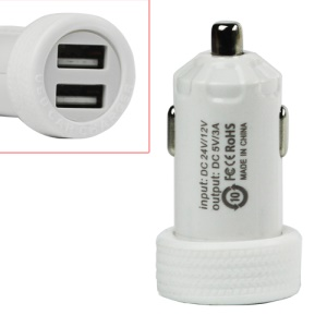 3A Car Cigarette Powered Dual USB Charger Adapter for iPhone iPod MP3 and etc - White