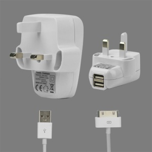 2 in 1 Dual USB Wall Charger with Data Cable for iPad iPhone iPod - UK Plug
