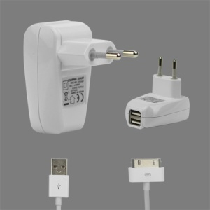 2 in 1 Dual USB Wall Travel Charger with Charge Cable for iPad iPhone iPod - EU Plug