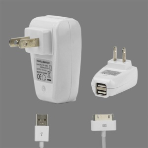 2 in 1 Dual USB Wall Charger with Data Cable for iPad iPhone iPod - US Plug