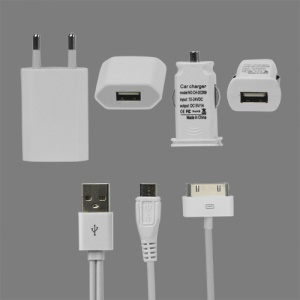 iPhone 4S 4 3GS 3G Charger Kit (Car Charger + Wall Charger + Apple/Micro USB Cable)