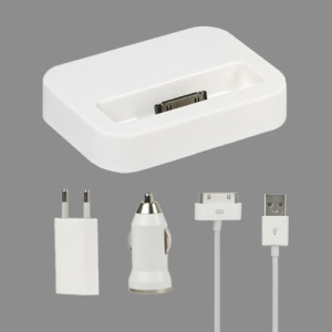 4 in 1 Charger Kit for iPhone 4S 4 3GS 3G (Car Charger + EU Plug Wall Charger + Dock Cradle + Cable)