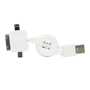 3 in 1 Mini Micro Retractable USB Sync Data Charger Cable for iPhone 4S 4 iPod - White