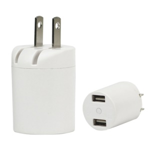 Dual USB Power Adapter for iPhone iPod US Plug - White