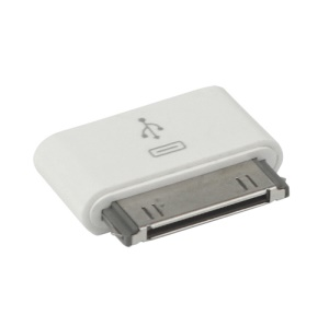 30 Pin Dock Connector to Micro USB Adapter for The New iPad iPhone 4S iPod Touch - White