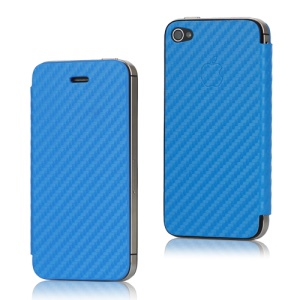 Leather Skin Carbon Fiber iPhone 4S Housing Back Cover with Front Case - Blue