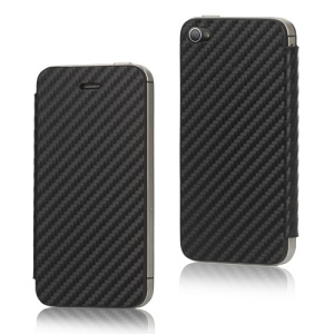 Leather Skin Carbon Fiber iPhone 4S Housing with Screen Cover - Black