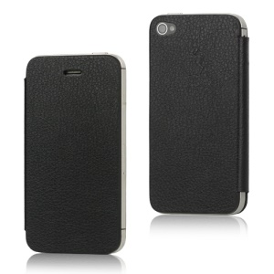 Leather Skin iPhone 4S Flip Cover (Back Housing + Front Cover + Free Pentacle Screwdriver) - Black
