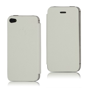 Leather Skin iPhone 4S Back Cover Housing with Front Flip Cover (Free Pentalobe Pentacle Screwdriver) - White