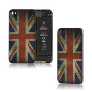 Retro Union Jack Glass Housing Back Cover for iPhone 4S