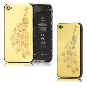 Rhinestone Peacock Back Cover Housing Replacement for iPhone 4S - Gold