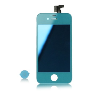 Electroplating iPhone 4S LCD Assembly with Digitizer and Home Button Mirror Effect - Baby Blue
