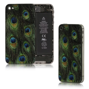 Peacock Feather Glass Back Cover Housing Replacement for iPhone 4S