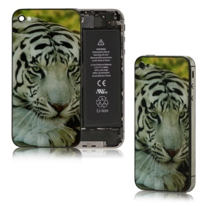 White Tiger Glass Battery Cover Housing Replacement for iPhone 4S