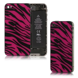 Zebra Glass iPhone 4S Back Housing Back Cover Replacement - Black / Red