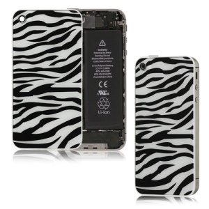 Zebra Glass iPhone 4S Back Housing Back Cover Replacement - Black / White