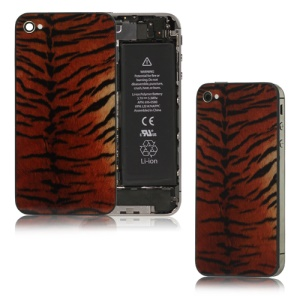 Glass Siberian Tiger Skin Back Cover Housing for iPhone 4S