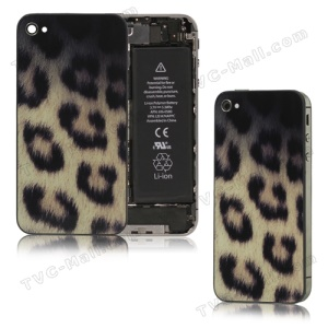 Glass Leopard Skin Back Cover Housing for iPhone 4S