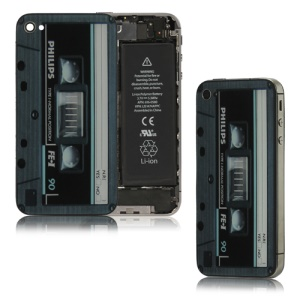 Cartridge Tape Cassette Glass Back Cover Housing for iPhone 4S - Blue