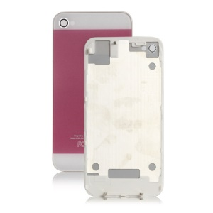 iPhone 5 Style Glass Back Cover Housing for iPhone 4S - White / Pink