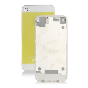 iPhone 5 Style Glass Housing Back Cover for iPhone 4S - White / Yellow