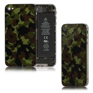 Camouflage Glass Battery Cover Back Housing for iPhone 4S (without mark)