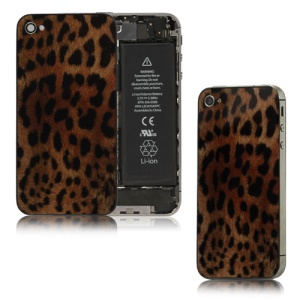 Leopard Glass Battery Cover Back Housing  for iPhone 4S - Black / Brown