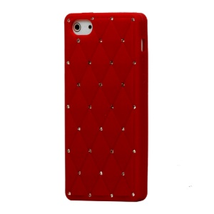 Sparkling Rhinestone Inlaid Silicone Cover Case for iPhone 5 - Red