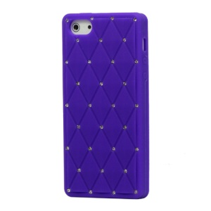 Sparkling Rhinestone Inlaid Silicone Cover Case for iPhone 5 - Purple