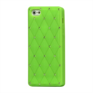 Sparkling Rhinestone Inlaid Silicone Cover Case for iPhone 5 - Green
