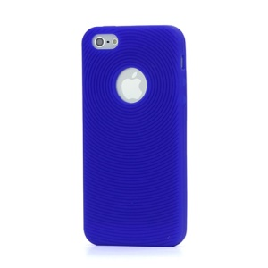 Finger Print Swirling Skin Silicone Case Cover for iPhone 5 - Dark Blue