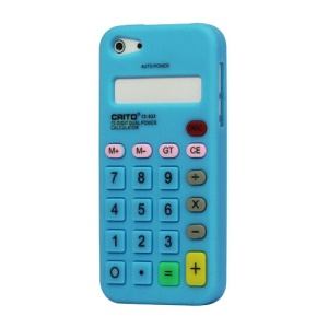 3D Calculator Silicone Cover Case for iPhone 5 - Light Blue