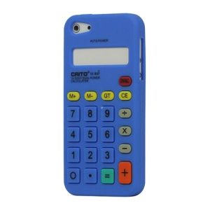 3D Calculator Silicone Cover Case for iPhone 5 - Dark Blue