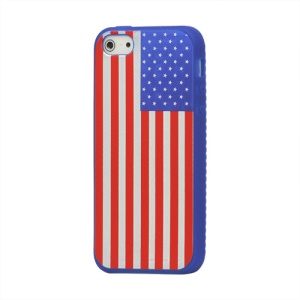 American Flag Silicone Case Cover for iPhone 5 5s - Blue