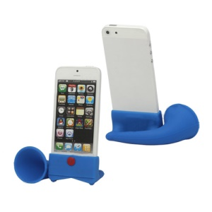 Silicone Horn Stand Speaker Amplifier for iPhone 5 - Blue