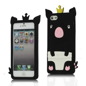 Cute 3D Crown Pig Silicone Case Cover for iPhone 5 - Black