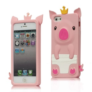 Cute 3D Crown Pig Silicone Case Cover for iPhone 5 - Pink