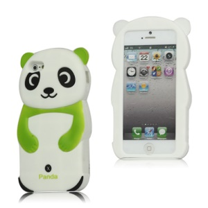 Lovely 3D Panda Rubber Silicone Case Cover for iPhone 5 - Green